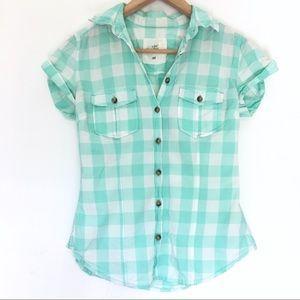 H&M checkered mint green button-down top